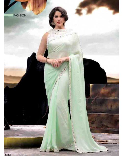 Off-white and LightGreen Designer Satin and Jacquard Saree