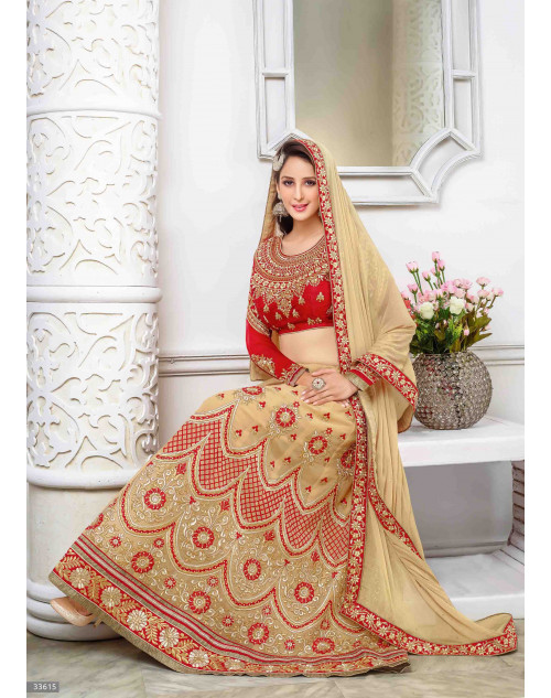Chahat Khanna Cream and Red Designer Georgette Lehenga Choli
