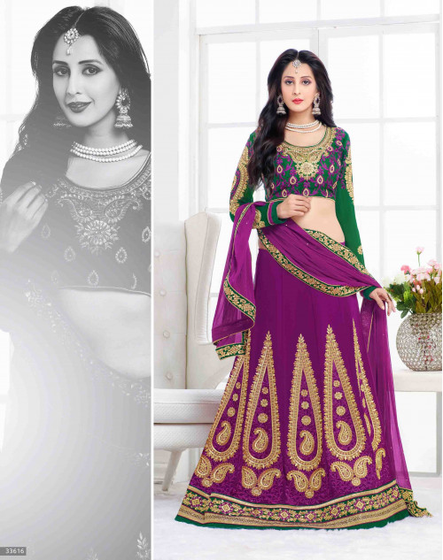 Chahat Khanna Violet and Green Designer Georgette Lehenga Choli