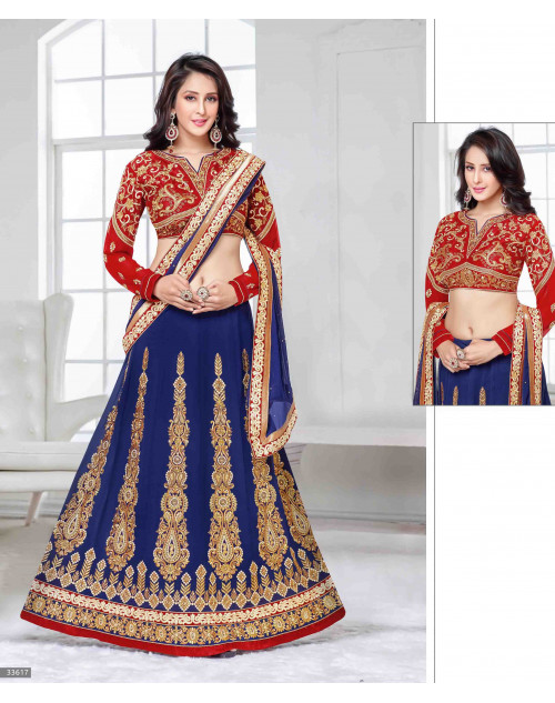 Chahat Khanna Blue and Red Designer Georgette Lehenga Choli