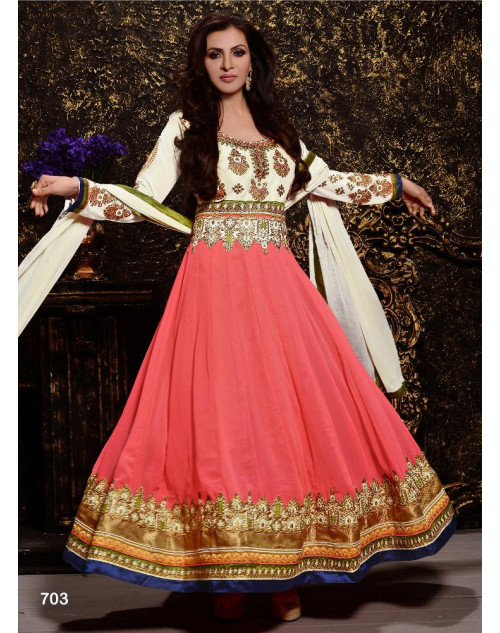 White and Pink Designer Georgette Suit