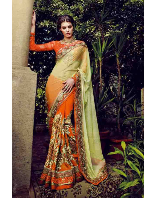 OrangeRed Net and Bemberg Georgette Saree