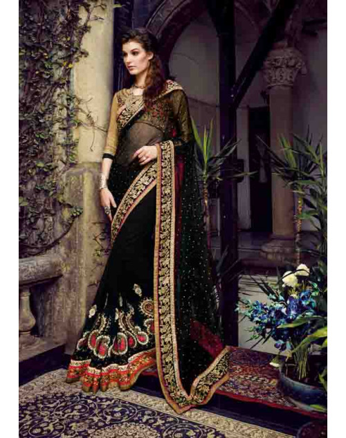 Black and Burlywood Net and Bemberg Georgette Saree