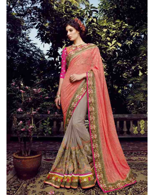 Pink and Coral Net Saree