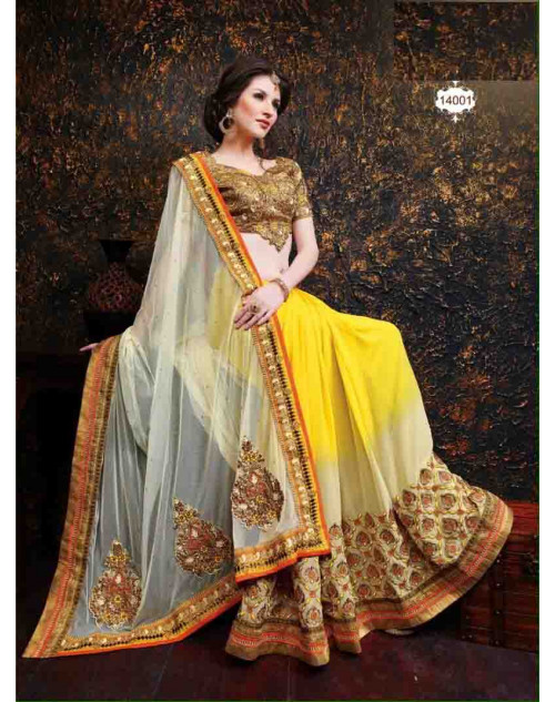 Yellow and Cream Net and Georgette Saree