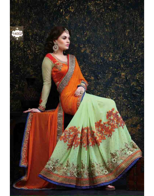 Orange and LightGreen Net and Georgette Saree