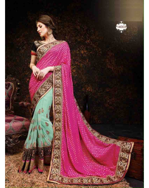 Pink and Black Net and Georgette Saree