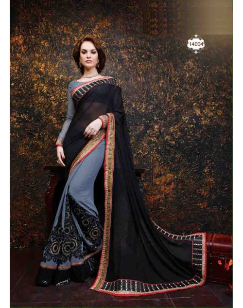 Grey and Black Net and Georgette Saree