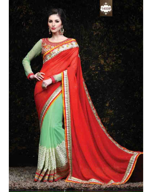 Red and LightGreen Net and Georgette Saree