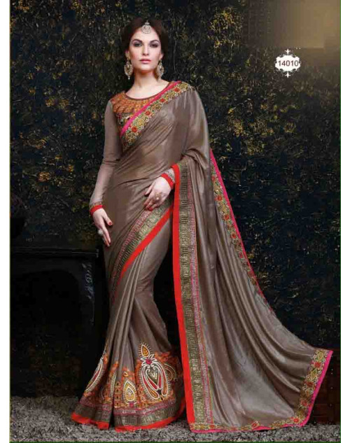 RoseBrown Net and Georgette Saree