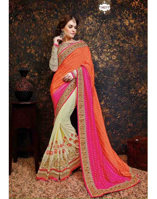 Off-white and Cream Net and Georgette Saree