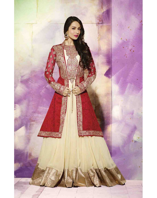 Malaika Arora Khan Designer Red and Cream Georgette Salwar Kamiz
