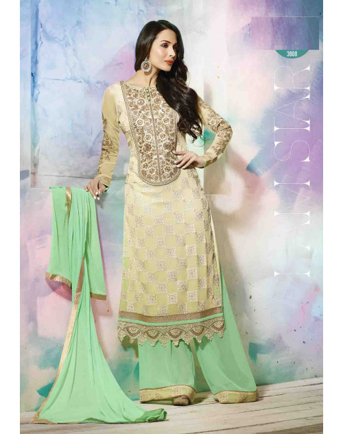 Malaika Arora Khan Designer Cream and Aquamarine Georgette Salwar Kamiz