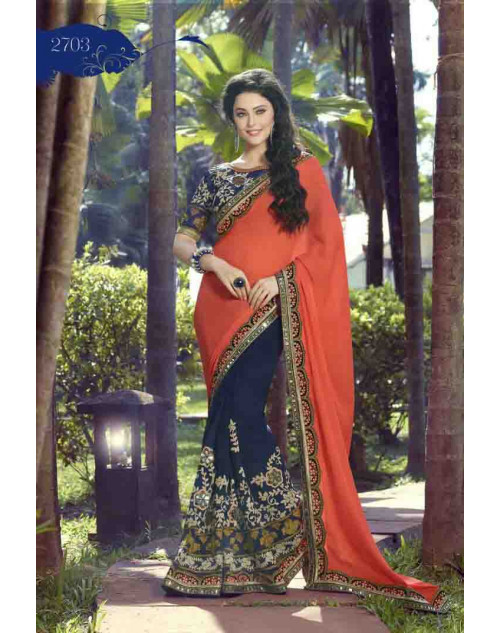 NavyBlue and Tomato Georgette Embroidery and Stone Work Saree
