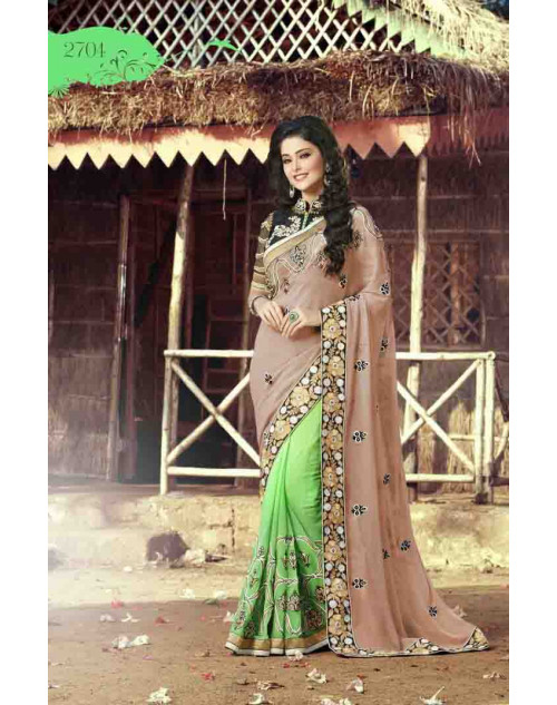 Tan and SpringGreen Georgette Embroidery and Stone Work Saree