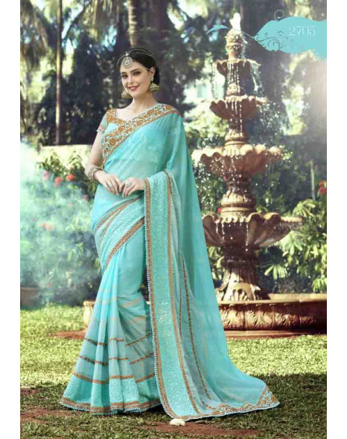 Turquoise Georgette Embroidery and Stone Work Saree