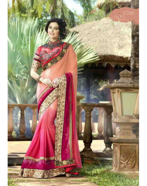 Coral and Crimson Georgette Embroidery and Stone Work Saree