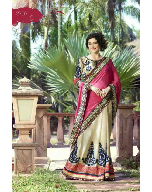 Crimson and Cream Georgette Embroidery and Stone Work Saree