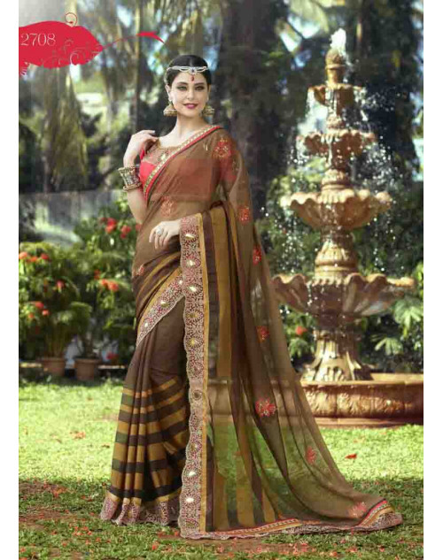 Sienna and DeepPink Georgette Embroidery and Stone Work Saree