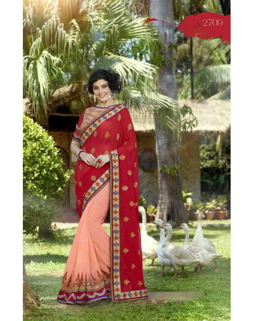 Crimson and LightSalmon Georgette Embroidery and Stone Work Saree
