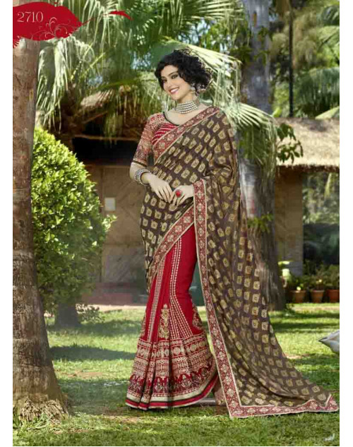 Crimson and RosyBrown Jaccard Embroidery and Stone Work Saree