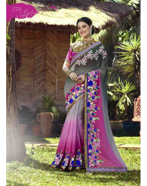 Grey and Magenta Georgette Embroidery and Stone Work Saree