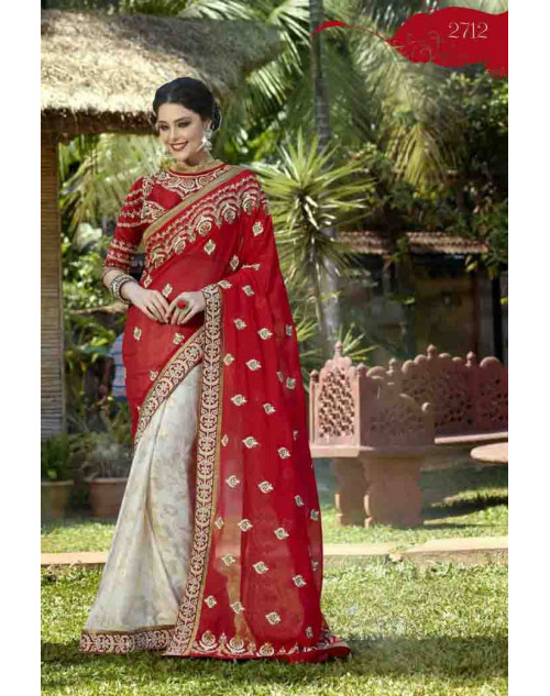 Red Georgette Embroidery and Stone Work Saree