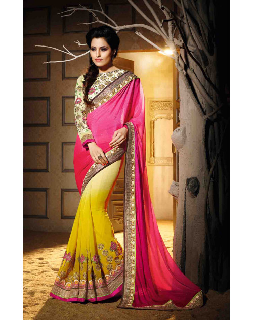 Pink and Yellow Georgette Saree with Art Silk Blouse