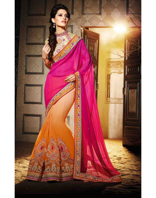 Pink and Orange Georgette Saree with Art Silk and Net Blouse