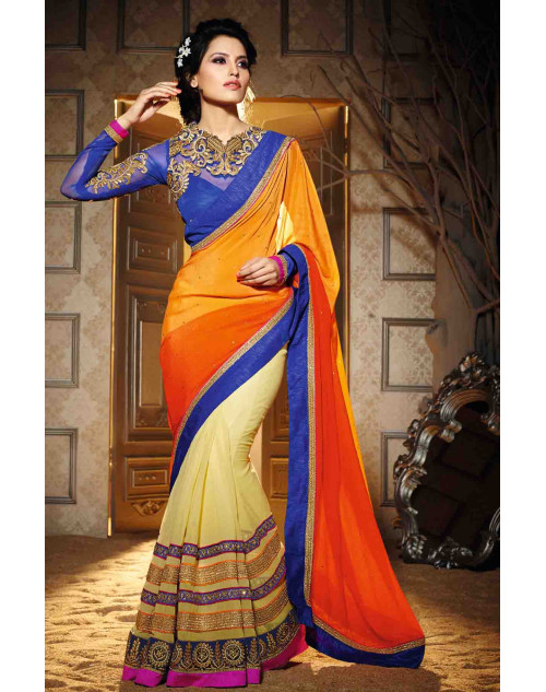 Cream and Orange Georgette Saree with Art Silk and Net Blouse
