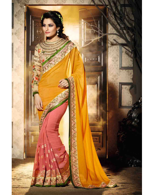 LightPink and Cream Georgette Saree with Art Silk Blouse