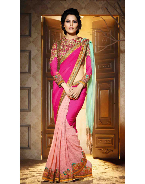 Pink and Peach Georgette Saree with Art Silk Blouse