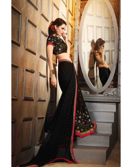 Black Georgette Saree with Art Silk Blouse