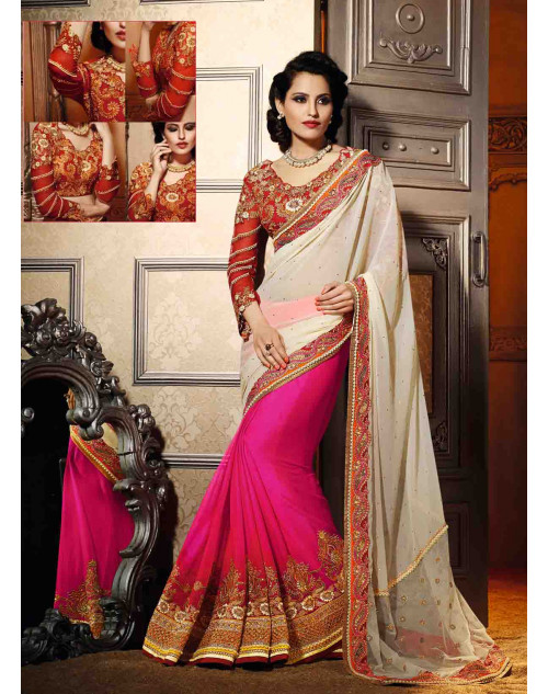 Cream and Pink Georgette Saree with Art Silk Blouse