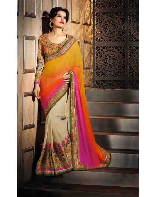 Cream and Beige Georgette Saree with Art Silk Blouse