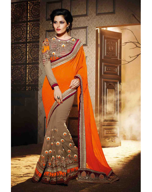Beige and Orange Georgette Saree with Art Silk Blouse