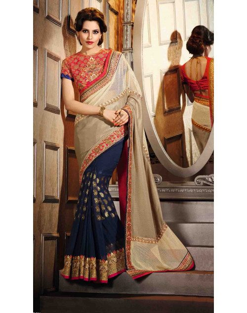Blue and Cream Georgette, Net and Art Silk Saree with Art Silk Blouse