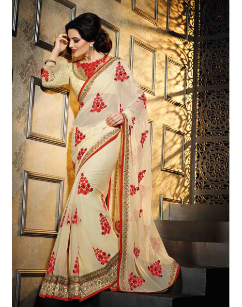 Cream Georgette Saree with Art Silk and Net Blouse