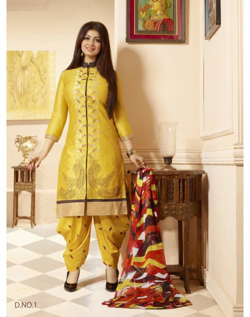 Ayesha Takia Yellow Cotton Salwar Kamiz