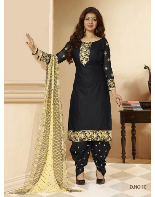 Ayesha Takia Black Cotton Salwar Kamiz