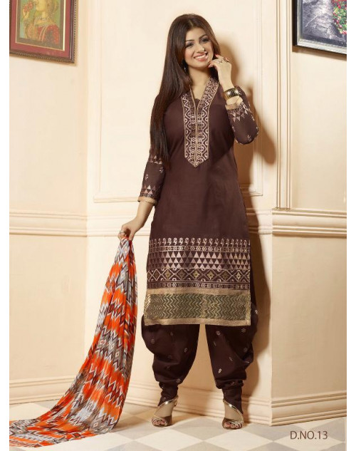Ayesha Takia SaddleBrown Cotton Salwar Kamiz