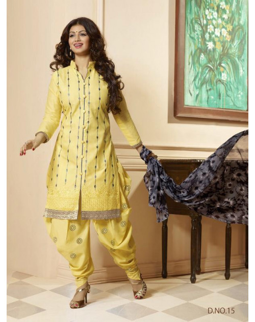 Ayesha Takia LightYellow Cotton Salwar Kamiz