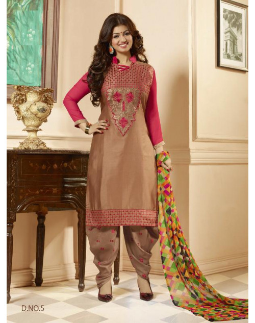 Ayesha Takia Pink and Peru Satin and Cotton Salwar Kamiz