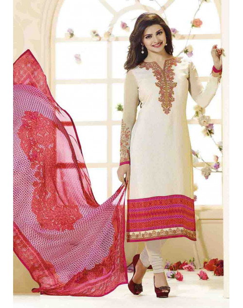 Prachi Desai Unstitch Cream Crepe Straight Suit