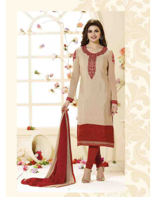 Prachi Desai Unstitch Cream and Red Crepe Straight Suit