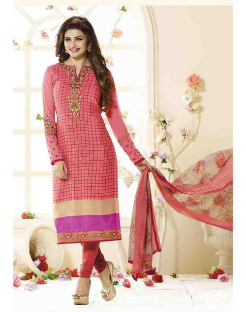 Prachi Desai Unstitch Red Crepe Straight Suit