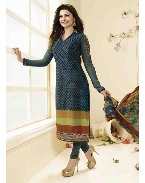Prachi Desai Unstitch Teal Crepe Straight Suit