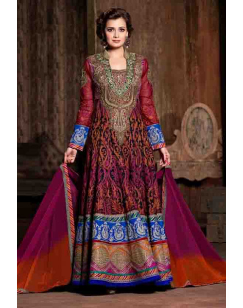 Dia Mirza Multi Color Premium Net with Embroidered Dresses