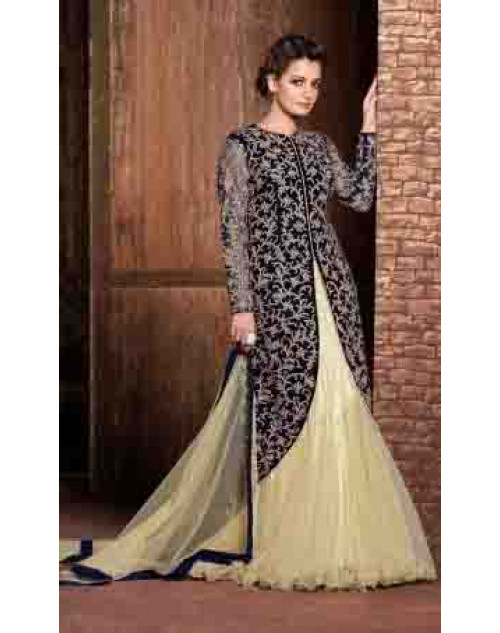 Dia Mirza SlateBlue and Cornsilk Pure Velvet with Embroidered Dresses