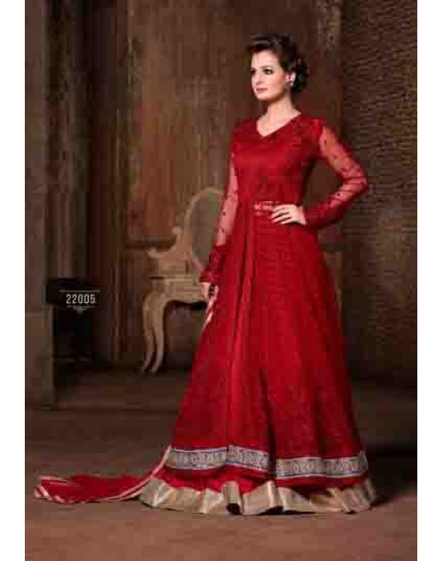 Dia Mirza Red Premium Net with Embroidered Dresses